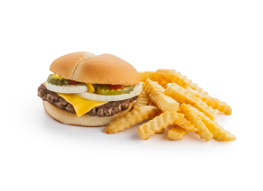 Cheeseburger and fries gas station